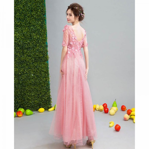Short Sleeve V Neck Evening Party Gowns Flower Pattern Vintage Crystal Tulle Charming Evening Dress Female Formals Extra Image 2