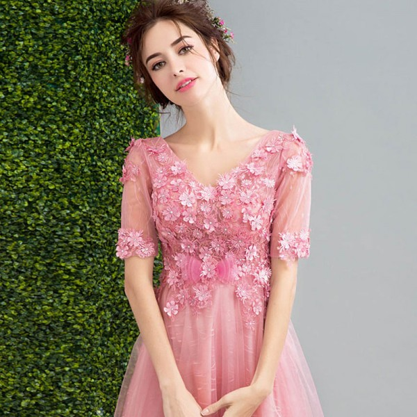 Short Sleeve V Neck Evening Party Gowns Flower Pattern Vintage Crystal Tulle Charming Evening Dress Female Formals Extra Image 5