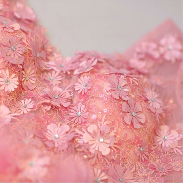 Short Sleeve V Neck Evening Party Gowns Flower Pattern Vintage Crystal Tulle Charming Evening Dress Female Formals Extra Image 6