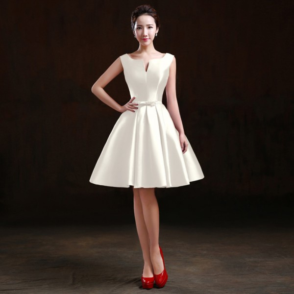 Simple Satin Sleeveless A Line Short Cocktail Dress Bride Party Gown Custom Plus Size Formal Dresses Ladies Party Robes