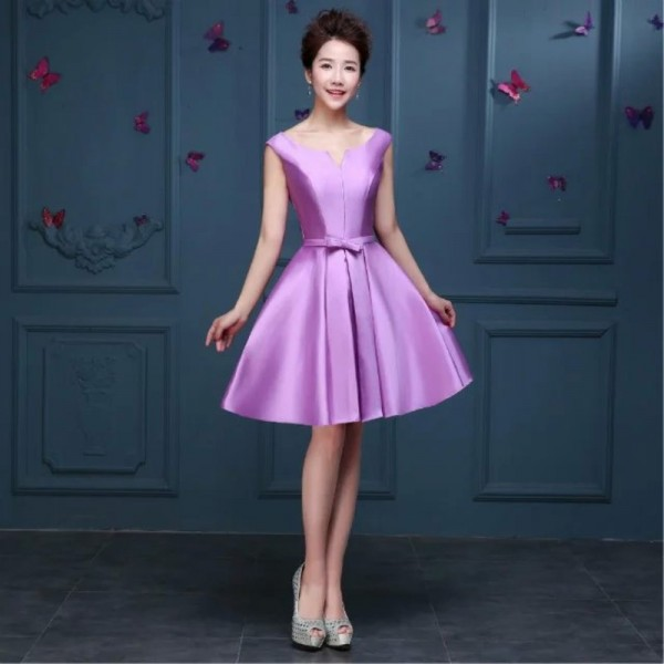 Buy Simple Satin Sleeveless A Line Short Cocktail Dress Bride Party ...