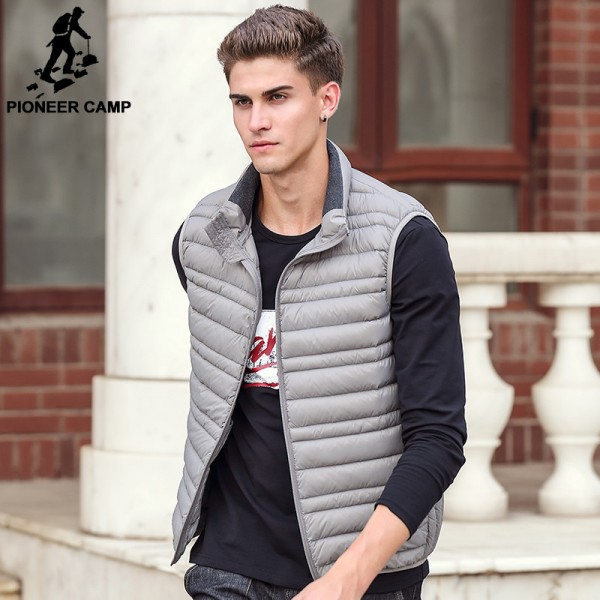 cbdf454bb Sleeveless down Jacket Men Brand male autumn Spring Casual Ultralight Down  Vest Slim Mens Vest Waistcoat Half Jacket