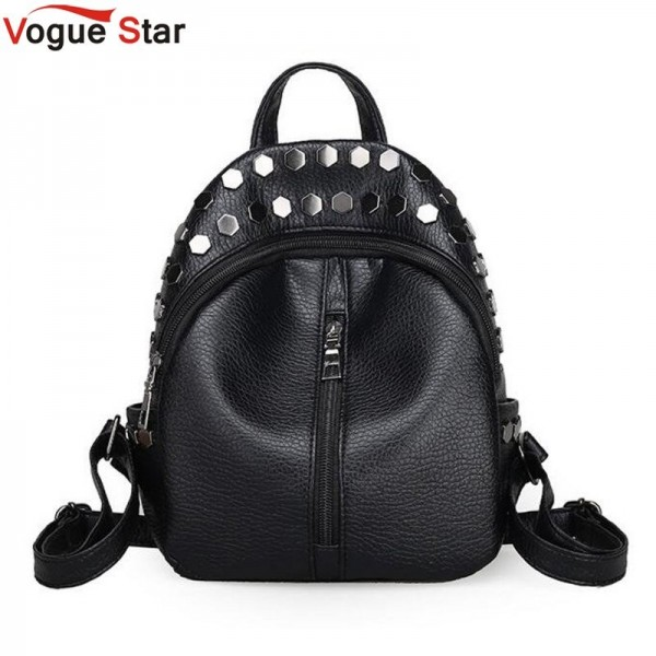 Buy Small Preppy Backpack Black Rivet Zipper Pu Leather ...