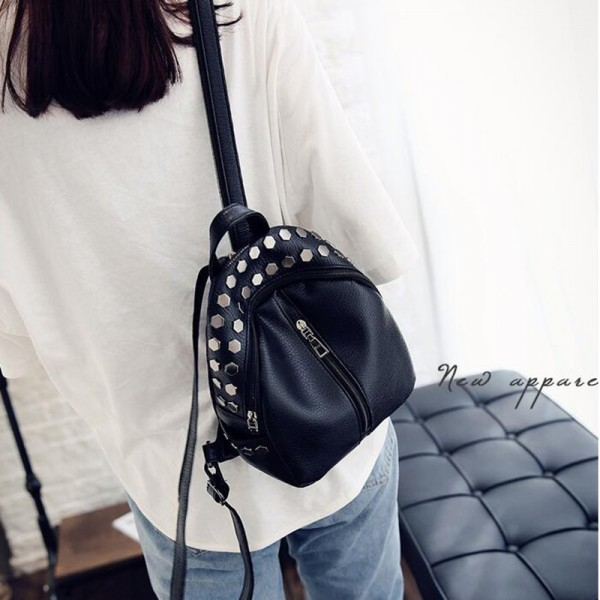 Small Preppy Backpack Small Rivet Zipper Pu Leather Bag For Girls Latest Designer Fashion Backpacks For School Girls Extra Image 3