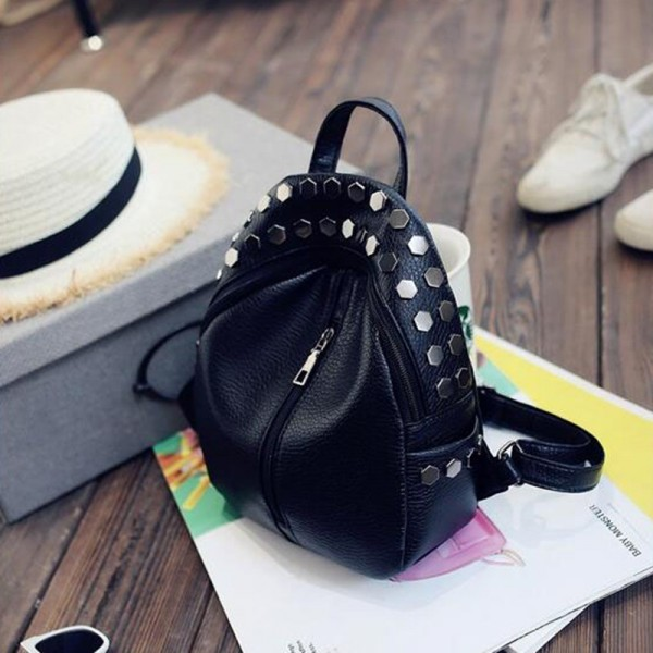 Small Preppy Backpack Small Rivet Zipper Pu Leather Bag For Girls Latest Designer Fashion Backpacks For School Girls Extra Image 5