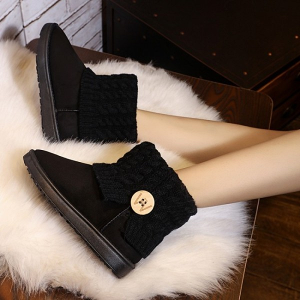 Snow Boots Women Thick Fur Warm Flat Platform Cotton Knit Woolen Yarn Ankle Boots Winter Shoes For Women Extra Image 2