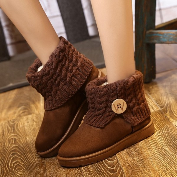 3d3d476a187e2 ... Snow Boots Women Thick Fur Warm Flat Platform Cotton Knit Woolen Yarn Ankle  Boots Winter Shoes ...