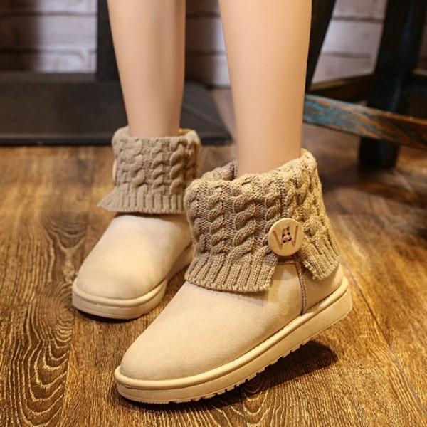 Snow Boots Women Thick Fur Warm Flat Platform Cotton Knit Woolen Yarn Ankle Boots Winter Shoes For Women Extra Image 5