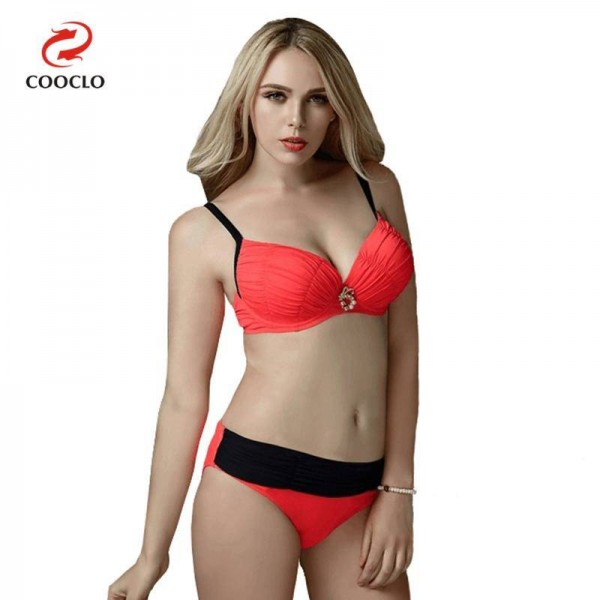 Solid Large Size Beachwear Push Up Red Sexy Bikini Plus Size High Quality Sunbathing Suits For Female
