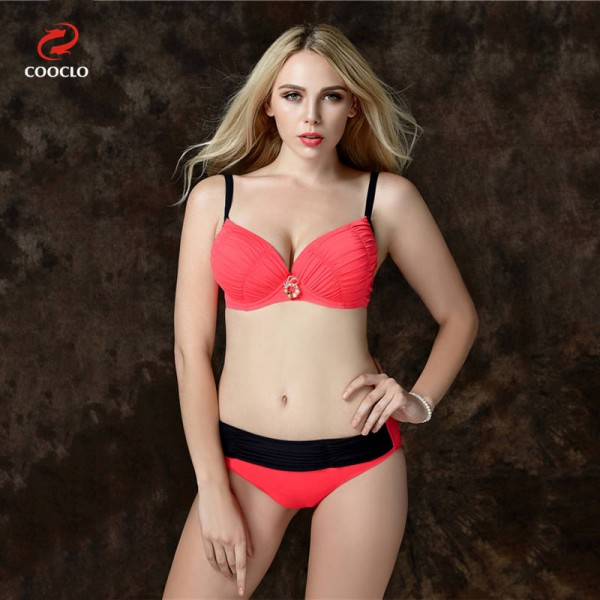 Solid Large Size Beachwear Push Up Red Sexy Bikini Plus Size High Quality Sunbathing Suits For Female Extra Image 1
