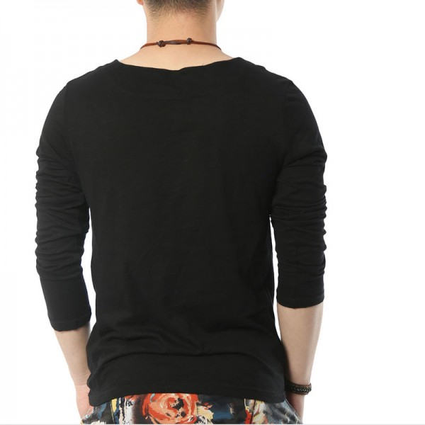 Solid Long Sleeve T Shirts Men Square Collar Cotton Geek Black Fashion Clothing Style Tops Tees For Guys Extra Image 3