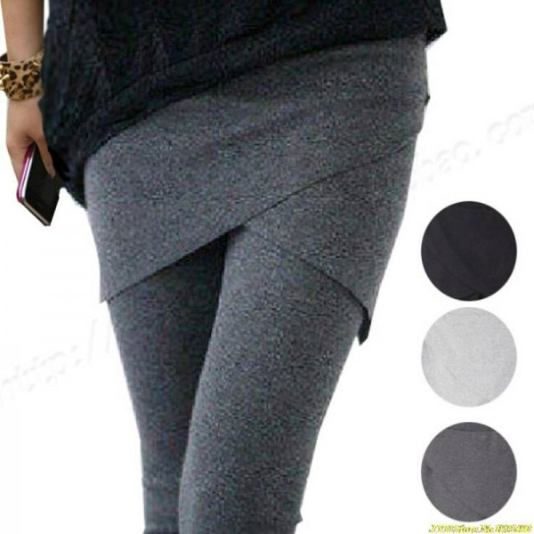 Solid Spring Summer Faux Two Piece Leggings Slim Hip Trousers For Women Thumbnail