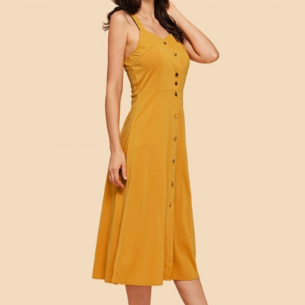 Solid Strap Button Dress For Women Strap Sleeveless Fashion Buttoned Dress Long Vestidos Summer Mini Dress Extra Image 2