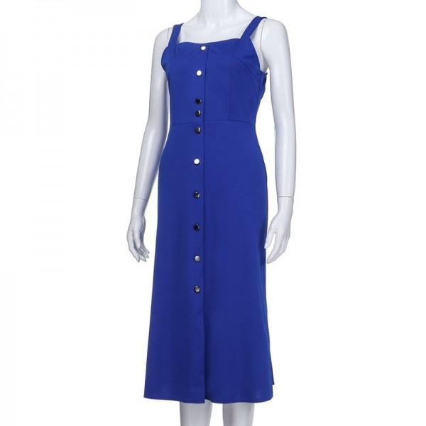 Solid Strap Button Dress For Women Strap Sleeveless Fashion Buttoned Dress Long Vestidos Summer Mini Dress Extra Image 4
