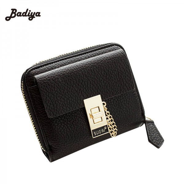 Solid Vintage Chains Women Wallet New Fashion Luxury Purse With Lock Bifold Small Wallets Women Thumbnail
