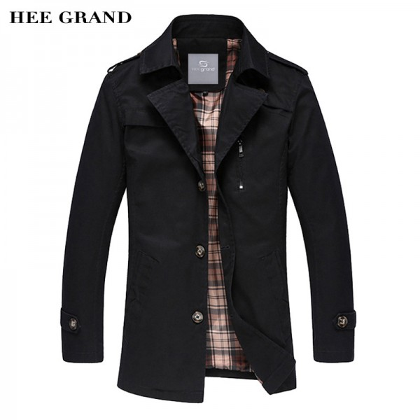 Spring Autumn Hot Sale Mens Blends Turn Down Collar Casual Jacket Coat Mid Long Style Trench Male Outwear Extra Image 1