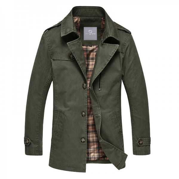 Spring Autumn Hot Sale Mens Blends Turn Down Collar Casual Jacket Coat Mid Long Style Trench Male Outwear Extra Image 3