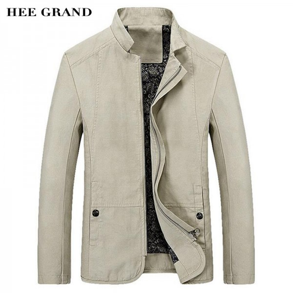 Spring Autumn Mens Jacket Casual Slim Fit Solid Color Coat Zipper Stand Collar Outwear Mid Length Male Coats Extra Image 1