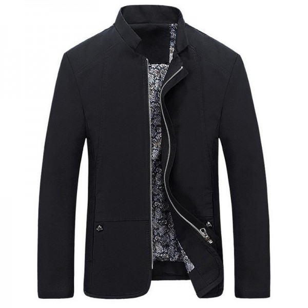 Spring Autumn Mens Jacket Casual Slim Fit Solid Color Coat Zipper Stand Collar Outwear Mid Length Male Coats Extra Image 2