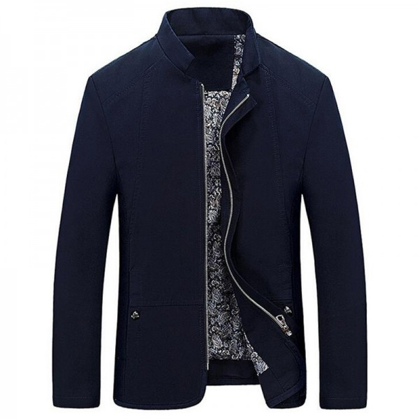 Spring Autumn Mens Jacket Casual Slim Fit Solid Color Coat Zipper Stand Collar Outwear Mid Length Male Coats Extra Image 3