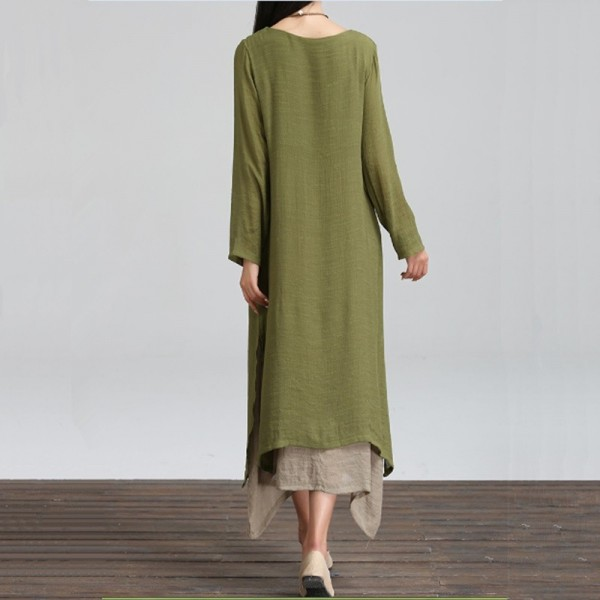Spring Autumn Style Cotton Linen Dress Casual Loose Fit Long Party Outdoor Female Dress Extra Image 3