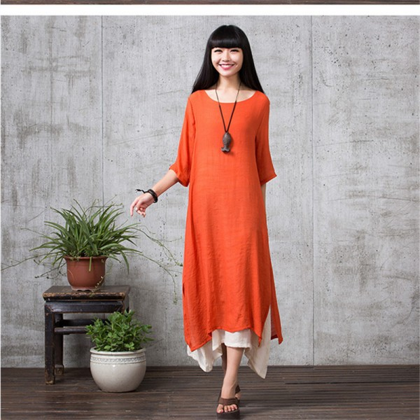 Spring Autumn Style Cotton Linen Dress Casual Loose Fit Long Party Outdoor Female Dress Extra Image 5