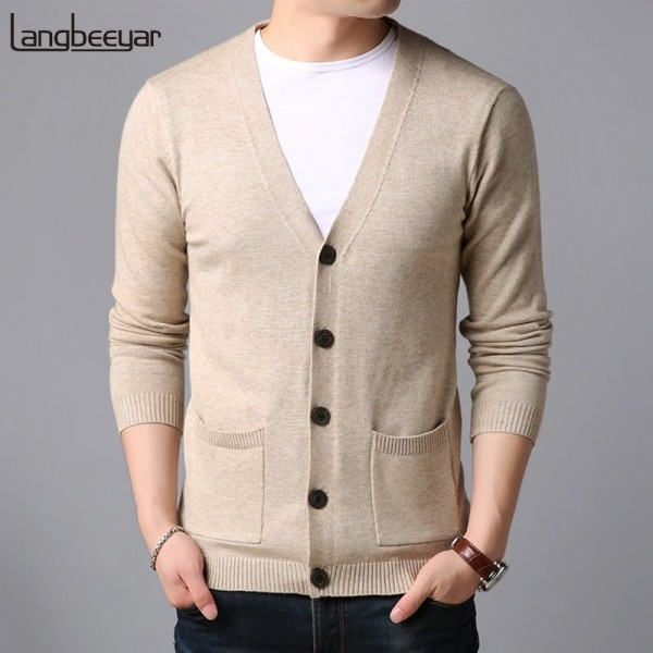 Spring Autumn Sweater For Mens Cardigan V Neck Slim Fit Jumpers Knit Solid Color Korean Style Casual Men Clothes Extra Image 1