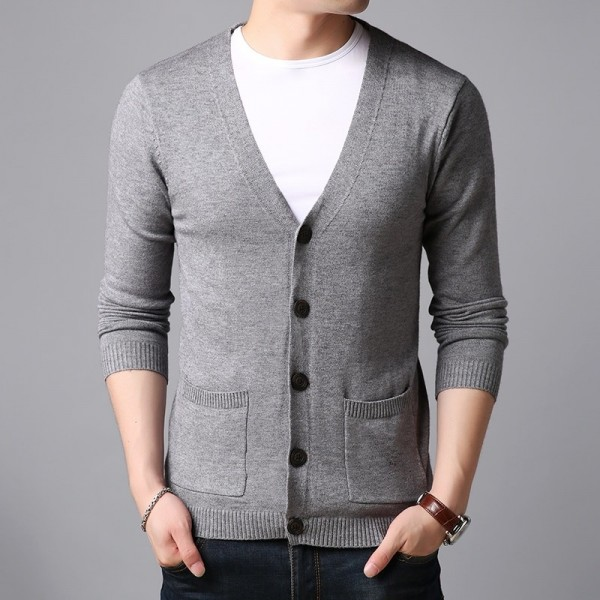 Spring Autumn Sweater For Mens Cardigan V Neck Slim Fit Jumpers Knit Solid Color Korean Style Casual Men Clothes