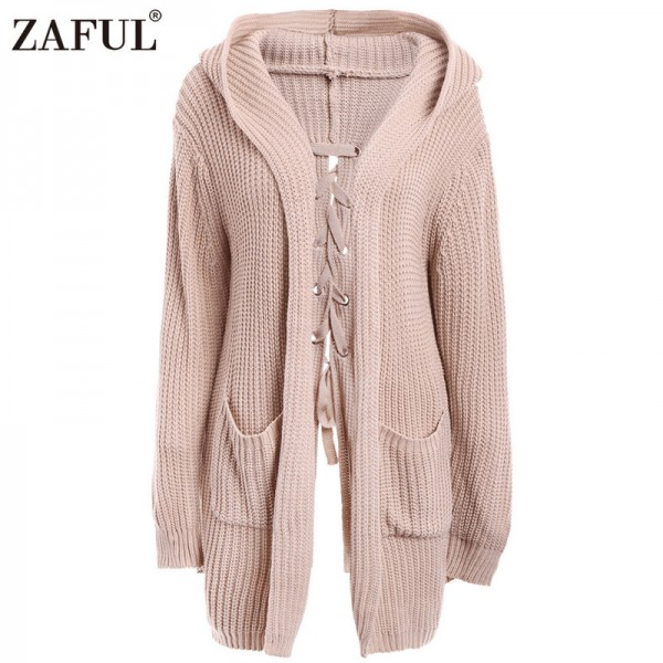 Spring Autumn Warm Knitted Sweaters Women Casual Cardigan Long Sleeve Lace Up Back Pockets Hooded Cardigans Thick Coat Extra Image 1
