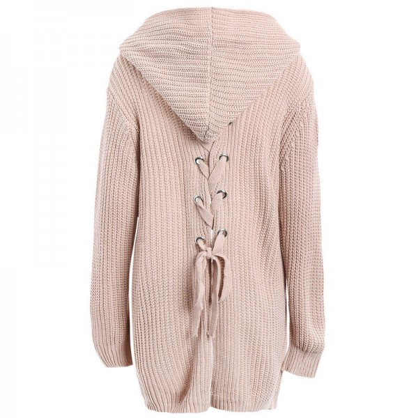 Spring Autumn Warm Knitted Sweaters Women Casual Cardigan Long Sleeve Lace Up Back Pockets Hooded Cardigans Thick Coat Extra Image 2