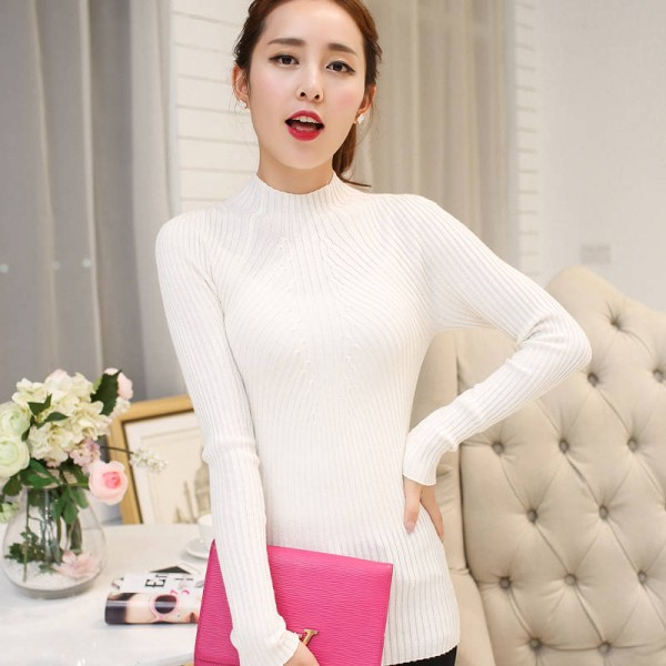 Spring Autumn Winter Fashion Sweater High Elastic Slim Elegant Knitted Pullover For Women Extra Images 1