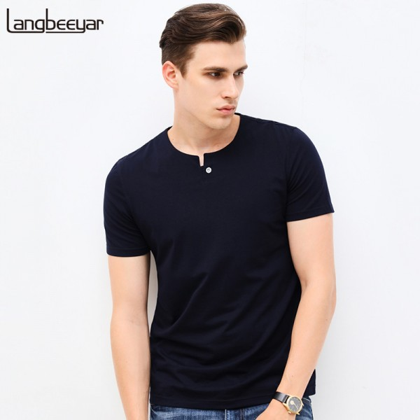 Spring Fashion Brand Men Clothes Tee Shirt O Neck Slim Fit Short Sleeve T Shirt Men Mercerized Cotton Casual Mens Extra Image 1