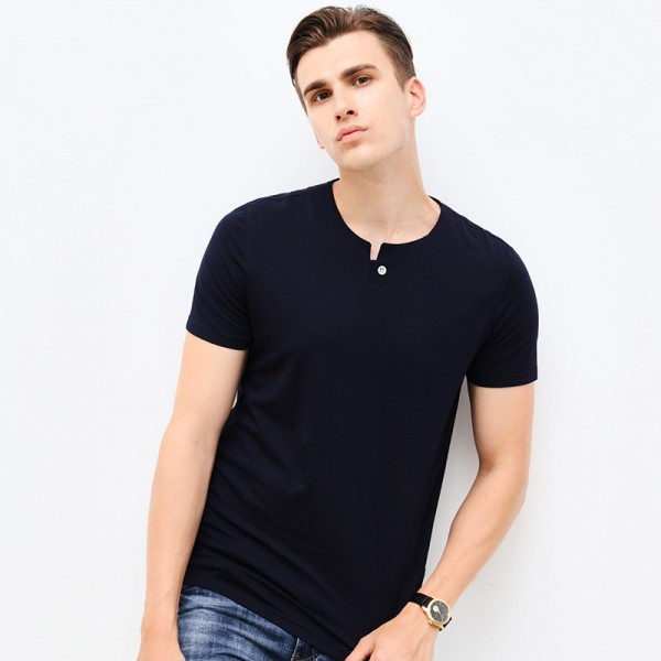 Spring Fashion Brand Men Clothes Tee Shirt O Neck Slim Fit Short Sleeve T Shirt Men Mercerized Cotton Casual Mens Extra Image 3