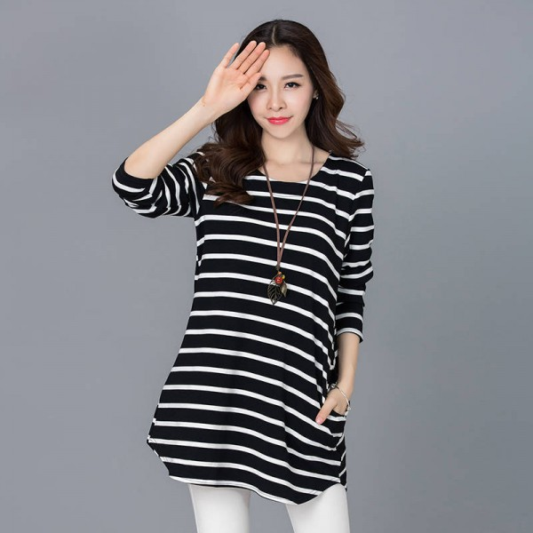 Spring Korean Style Casual Loose Long Sleeve Striped Pockets Tops For Women Thumbnail