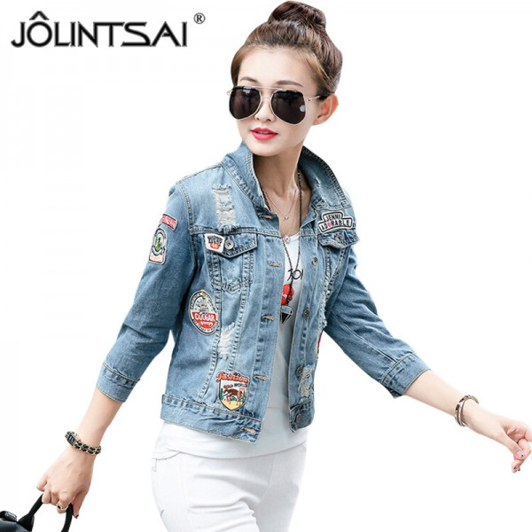 Spring New Denim Jacket Women Patch Designs Hole Women Jeans Jacket Long Sleeve Short Woman Coat jaqueta feminina Extra Image 1
