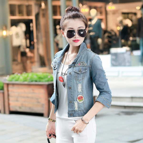 Spring New Denim Jacket Women Patch Designs Hole Women Jeans Jacket Long Sleeve Short Woman Coat jaqueta feminina