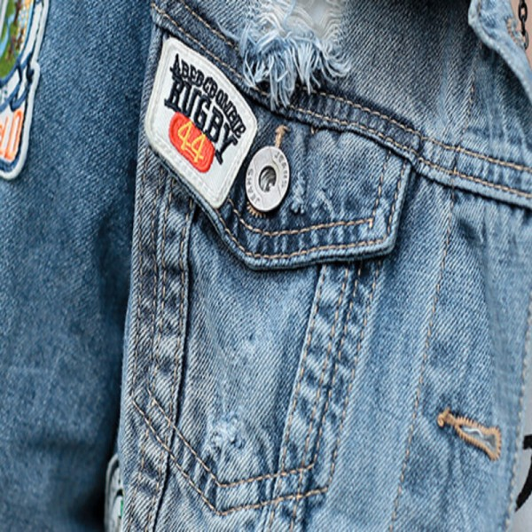 Spring New Denim Jacket Women Patch Designs Hole Women Jeans Jacket Long Sleeve Short Woman Coat jaqueta feminina Extra Image 5