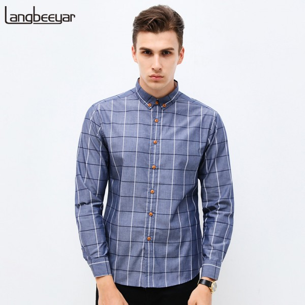 Spring New Fashion Brand Clothing Mens Shirt Classic Plaid Shirt Slim Fit High Quality Casual Shirt Men Clothes M 5XL Extra Image 1