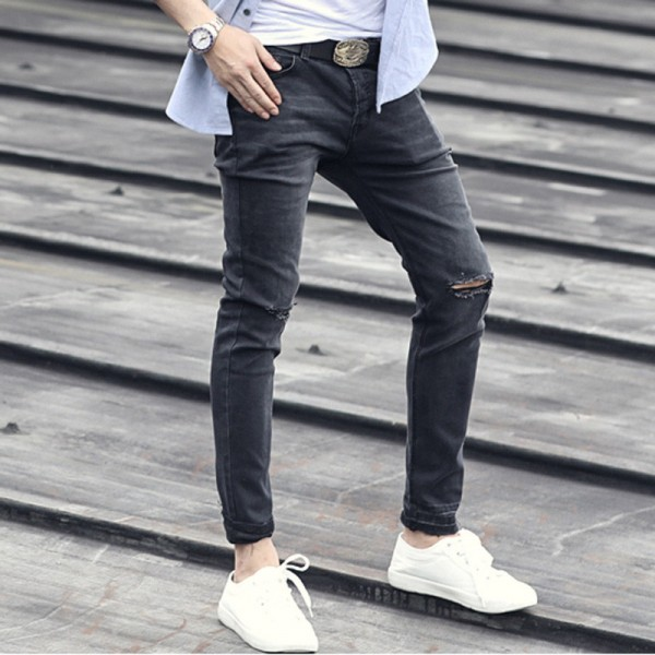 Spring Retro Black Washing Cuffs Trousers jeans pants Mens Stretch Black Pants Jeans denim trousers brand clothing