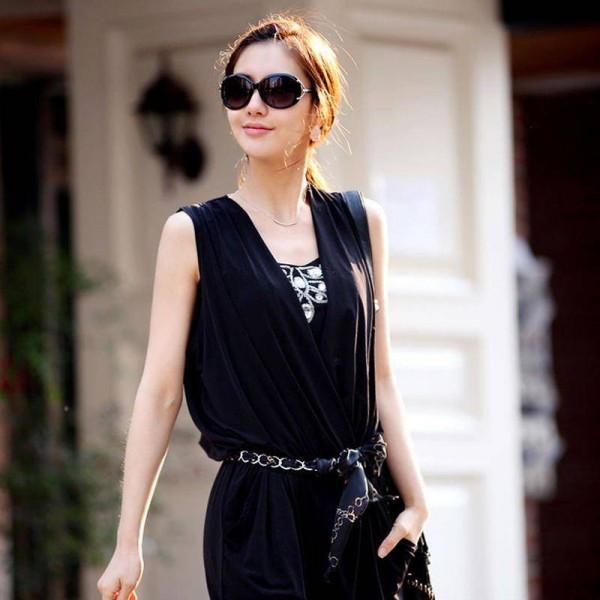 Spring V Neck New Fashion Jumpsuit Tees Tops Chiffon Long Slim Fit For Women Thumbnail