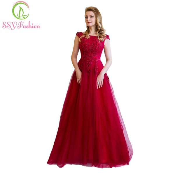 Buy SSYFashion Banquet Elegant Evening Dress The Bride Wine Red Lace ...