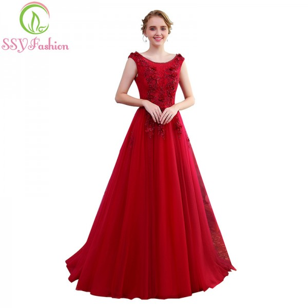 SSYFashion Banquet Elegant Evening Dress The Bride Wine Red Lace Flower Beading Long Party Prom Dresses Custom Extra Image 4