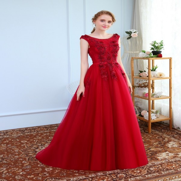SSYFashion Banquet Elegant Evening Dress The Bride Wine Red Lace Flower Beading Long Party Prom Dresses Custom Extra Image 6