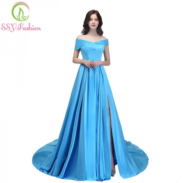 SSYFashion New Banquet Simple Satin Evening Dress Boat Neck High Split Sweep Train Elegant Custom Formal Dresses Extra Image 1