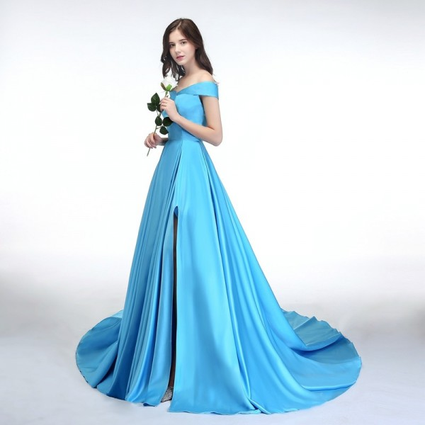 SSYFashion New Banquet Simple Satin Evening Dress Boat Neck High Split Sweep Train Elegant Custom Formal Dresses Extra Image 2