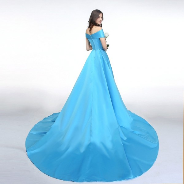 SSYFashion New Banquet Simple Satin Evening Dress Boat Neck High Split Sweep Train Elegant Custom Formal Dresses Extra Image 3