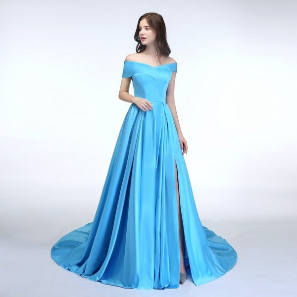 SSYFashion New Banquet Simple Satin Evening Dress Boat Neck High Split Sweep Train Elegant Custom Formal Dresses