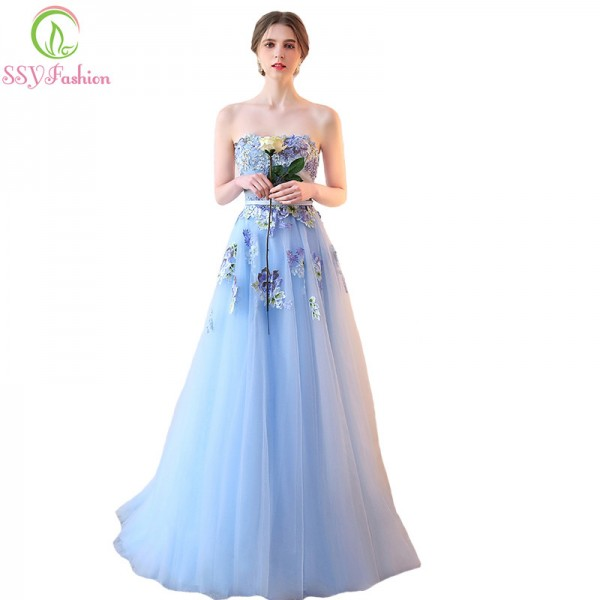 SSYFashion New Light Blue Strapless Lace Flower Evening Dress Bride Banquet Sweet Embroidery Long Prom Party Dresses Extra Image 1