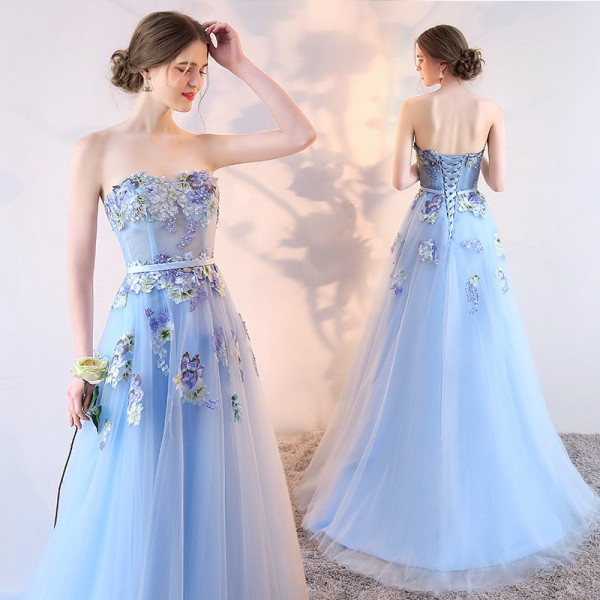 SSYFashion New Light Blue Strapless Lace Flower Evening Dress Bride Banquet Sweet Embroidery Long Prom Party Dresses Extra Image 2