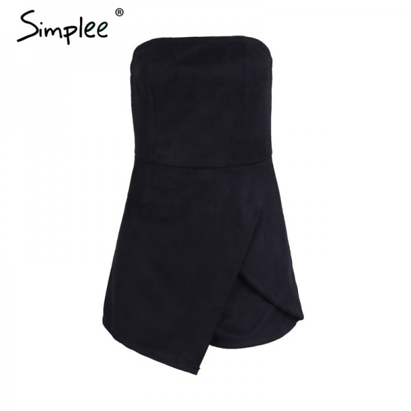 Strapless leather suede jumpsuit romper Women slim pink winter irregular short playsuit Elegant autumn female overalls Extra Image 6